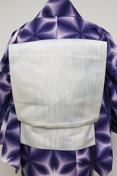 銀座【K-6925】博多織 八寸名古屋帯 白色×秘色色 刷毛目文