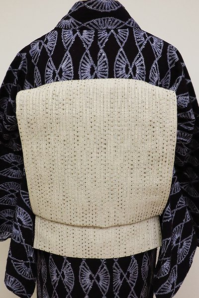 銀座【K-6927】夏 織八寸名古屋帯 練色 抽象文(反端付)