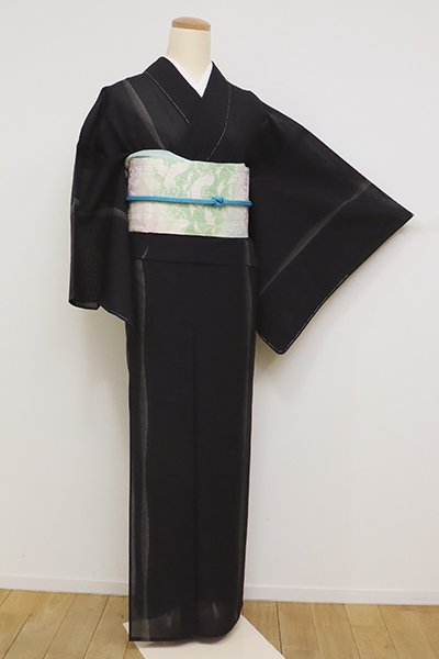 銀座【A-3147】紗紬 黒色 流線文