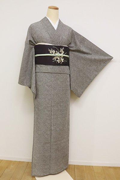 銀座【D-2580】きもの英製 夏 小紋 鈍色 更紗花文