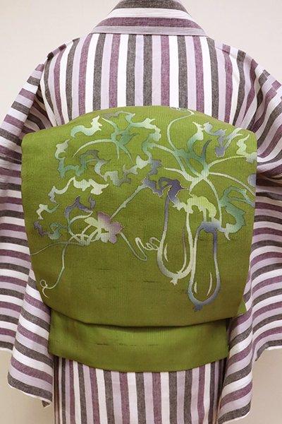 あおき【K-6929】竪絽紬地 染名古屋帯 草色 糸瓜の図