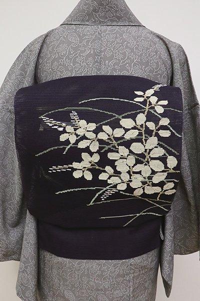 銀座【K-6930】絽綴れ 八寸名古屋帯 紫黒色 萩の図