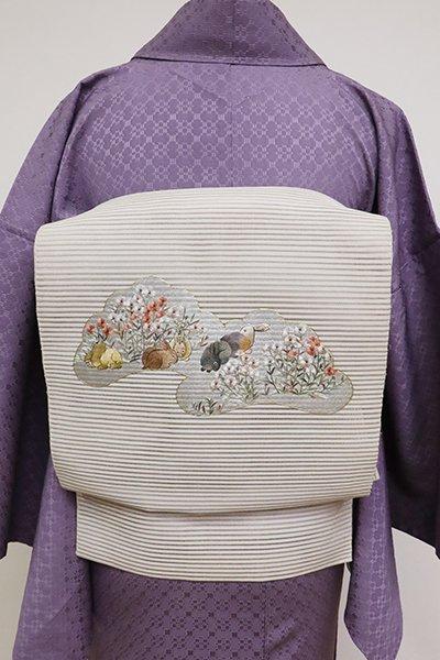 あおき【K-6931】絽綴れ 刺繍 八寸名古屋帯 絹鼠色 撫子と兎の図