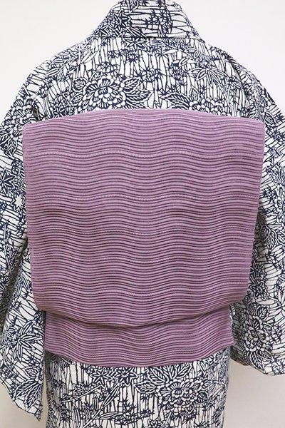 あおき【K-6932】絽綴れ 八寸名古屋帯 古代紫色 波のような横段