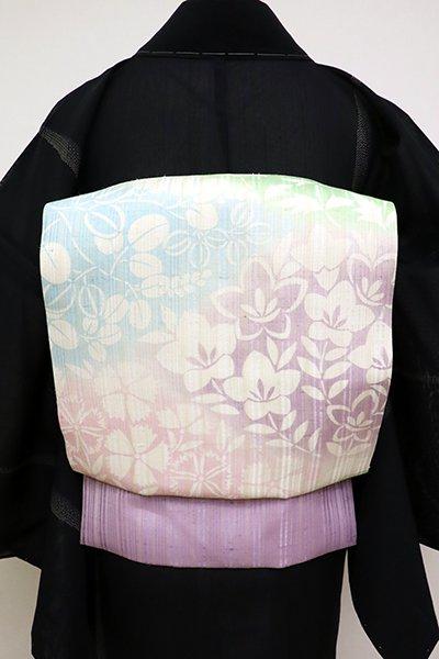銀座【K-6933】竪絽紬地 染名古屋帯 練色 多彩な秋草文