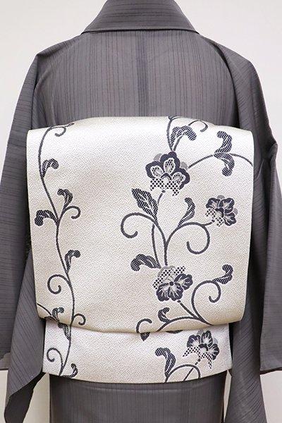 銀座【K-6934】博多織 八寸名古屋帯 白色 花唐草文
