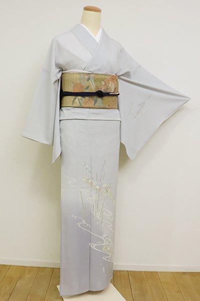 あおき【B-2649】絽 付下げ 白花色 木賊に扇の図(反端付)(N)