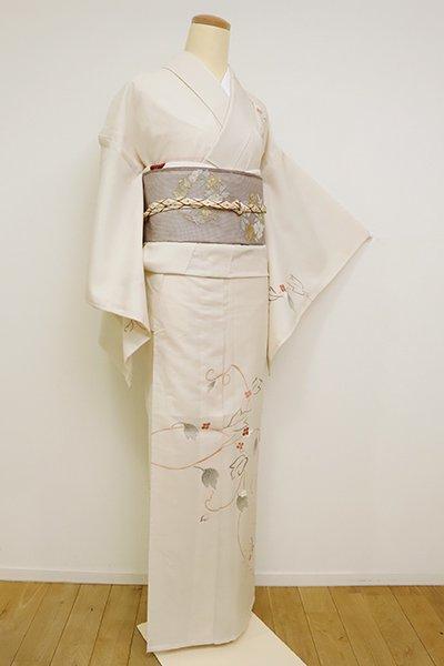 あおき【B-2651】紗紬 訪問着 灰白色 蔓花の図