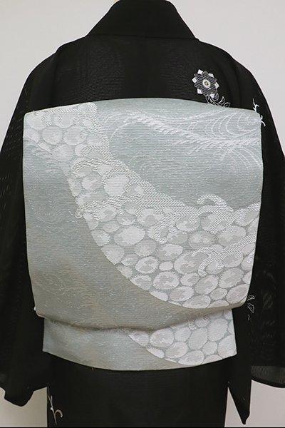 あおき【L-5155】西陣 洛陽織物製 夏 袋帯 豆がら茶色 波文(証紙付)