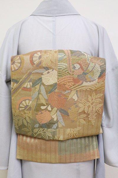 銀座【L-5156】紗 本袋帯 黄土色 色紙文