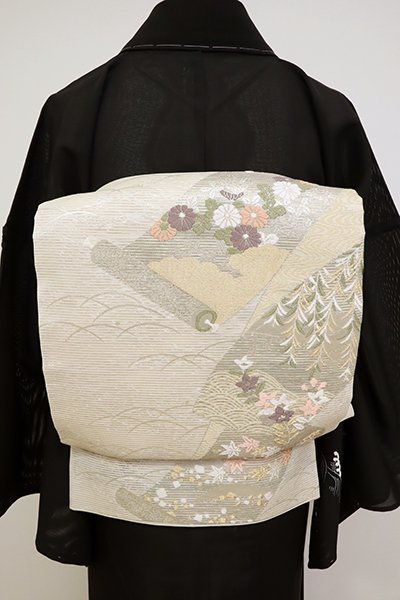 あおき【L-5157】絽 袋帯 練色 秋草図巻物文