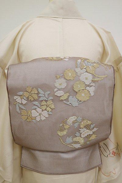 あおき【L-5158】紗 袋帯 胡桃染色 花の丸文