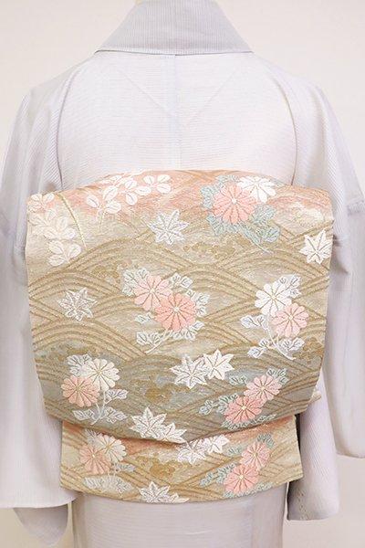 銀座【L-5159】紗 袋帯 練色×一斤染色×水浅葱色 波に秋草の図(三越扱い)