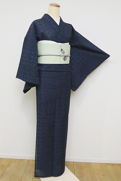 【A-3150】紗紬 濃藍色 七宝文