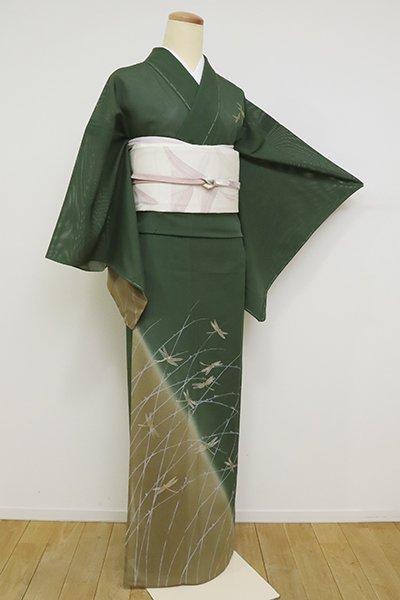 あおき【B-2653】絽 付下げ 濃老竹色×桑染色 露芝にとんぼの図