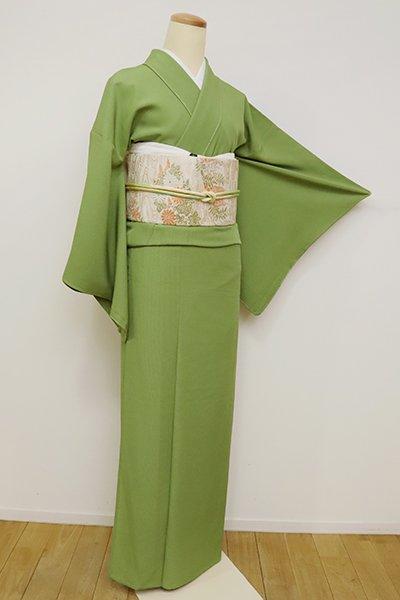 銀座【C-1917】(S)絽 繍一ッ紋 色無地 草色(反端付・落款入)
