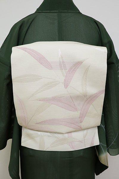 あおき【L-5161】紗 袋帯 象牙色 葦の図
