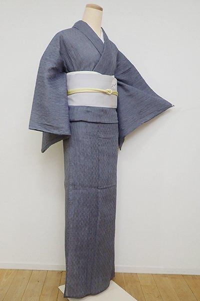 銀座【A-3152】小千谷縮 藍鉄色 微塵格子(証紙付)