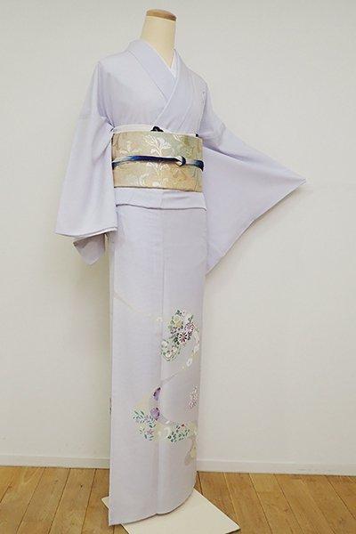 あおき【B-2655】絽 付下げ 白菫色 流水に花の丸文(反端付)(N)