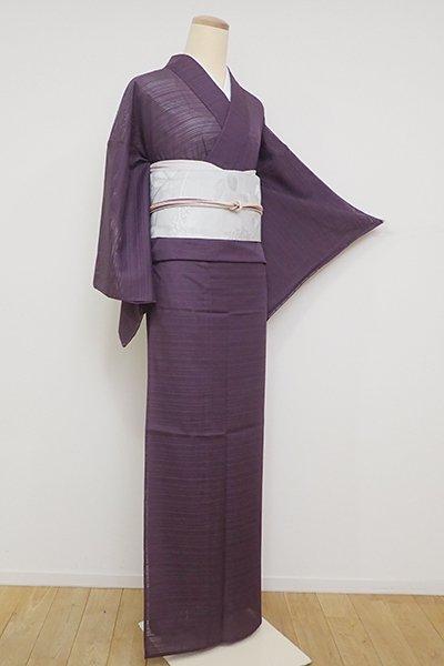銀座【C-1919】(広め)きもの英製 繍一ッ紋 絽 色無地 似せ紫色
