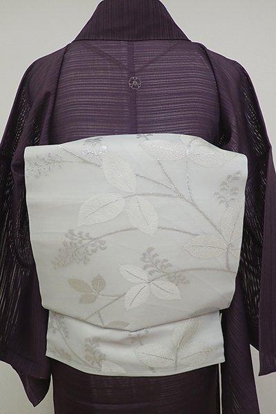 銀座【K-6941】紗 織名古屋帯 薄雲鼠色 植物文