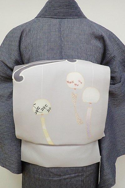 銀座【K-6942】紗 染名古屋帯 白鼠色 風鈴の図