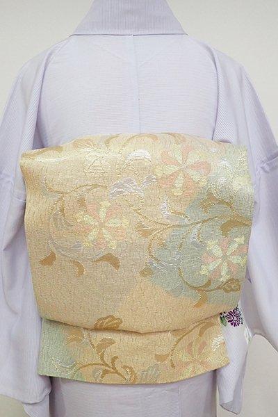 銀座【L-5163】夏袋帯 金色 裂取りに花唐草文