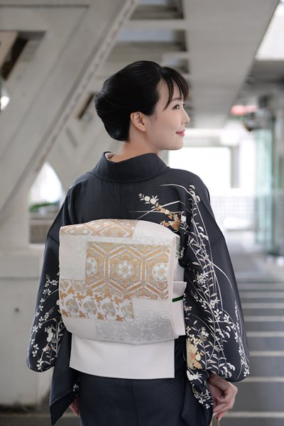 あおき【帯3481】絽 刺繍 袋帯