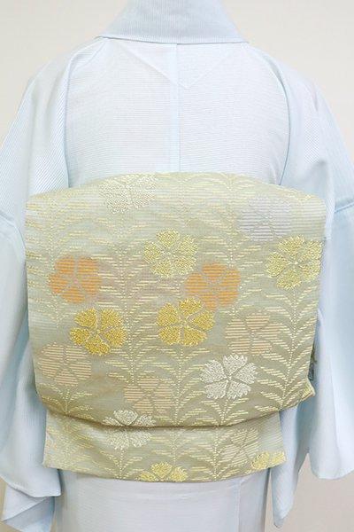 あおき【L-5165】絽 本袋帯 裏葉柳色 撫子文