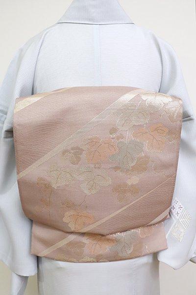 あおき【L-5166】紗 袋帯 薄柿色 段に瓢箪や波