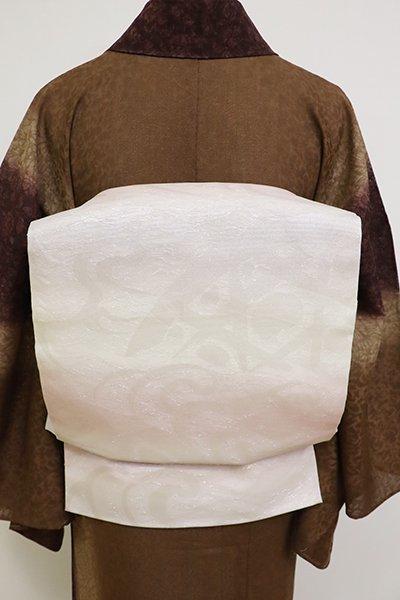 あおき【L-5167】紗 本袋帯 白色×薄桜色 蛇籠の図