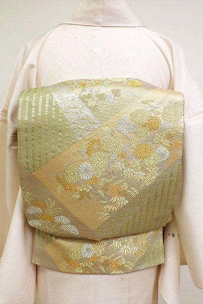あおき【L-5168】絽 袋帯 金色 裂取りに秋草の図