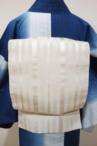 銀座【K-4199-3】本場筑前博多織 紗献上 八寸名古屋帯 練色(証紙付)