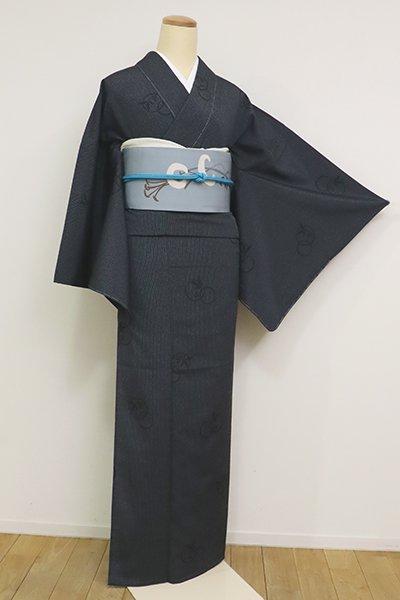 あおき【A-3155】(L・細め)単衣 本塩沢 藍鉄色 縞に植物の丸文(証紙付)