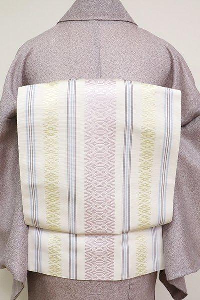銀座【K-6944】本場筑前博多織 八寸名古屋帯 白色 献上柄(N)