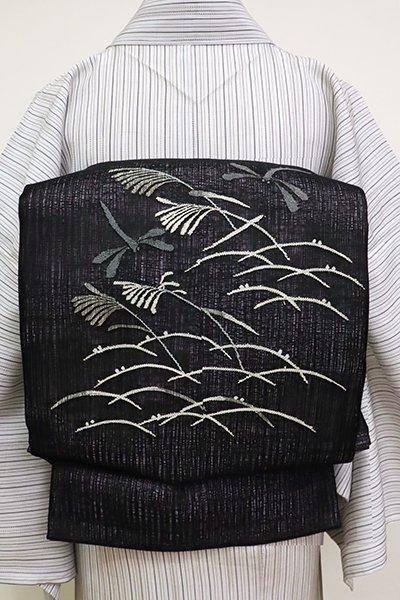 銀座【L-5169】櫛織 夏 洒落袋帯 黒色 芝と芒に蜻蛉の図