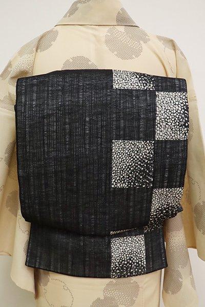あおき【L-5171】櫛織 夏 洒落袋帯 黒色 幾何文