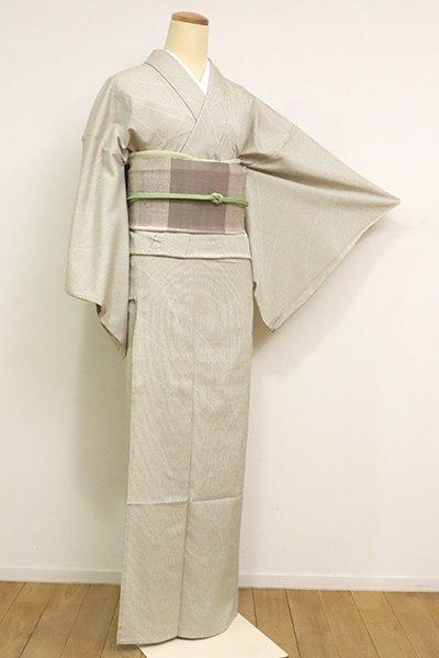 あおき【A-3158】(L)単衣 本塩沢 灰白色 縞に流線文