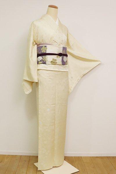 あおき【A-3159】(L)単衣 縫取御召 鳥の子色 植物文