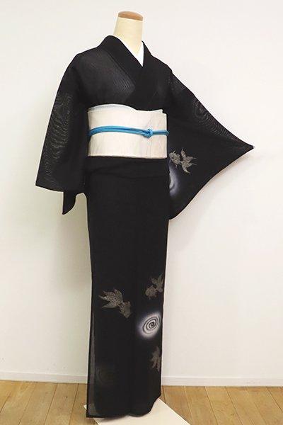 銀座【B-2660】紋紗 付下げ 黒色 金魚の図