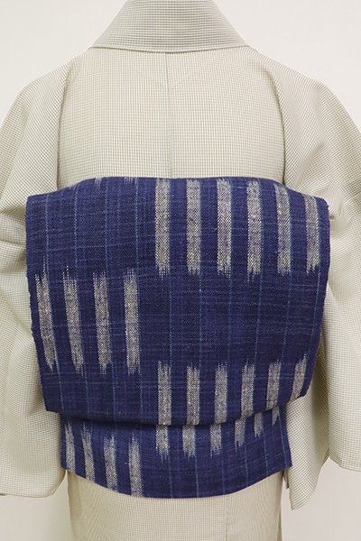 銀座【K-6948】麻地 開き八寸名古屋帯 濃藍色 変わり段(長尺)