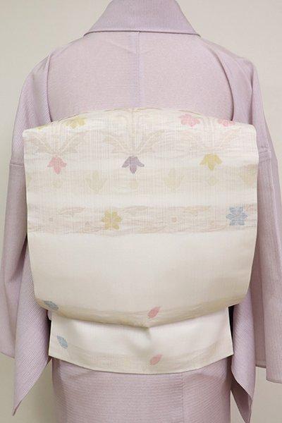 銀座【K-6950】夏 織名古屋帯 白色 装飾花文