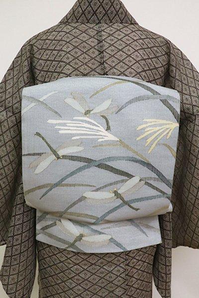 銀座【L-5172】夏 櫛織 洒落袋帯 灰青色 芒に蜻蛉の図(三越扱い)