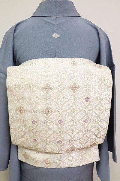 銀座【L-5173】西陣 じゅらく製 袋帯 薄卵色 有職七宝文(落款入)