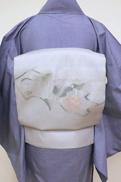 銀座【K-6953】夏 開き 織名古屋帯 灰青色 葡萄の図