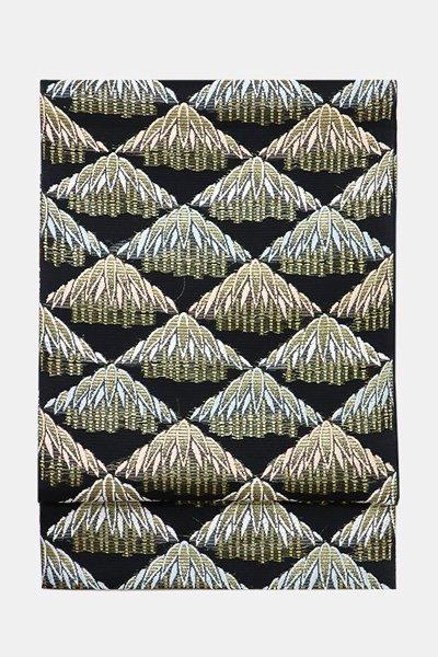 銀座【帯3488】西陣 河合美術織物製 絽袋帯 黒色 笹文