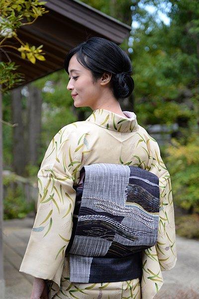 銀座【帯3490】西陣 渡文製 洒落袋帯「波衣」