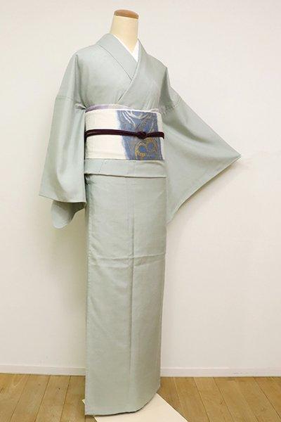 銀座【A-3163】単衣 繍一ッ紋 紬 柳鼠色 無地