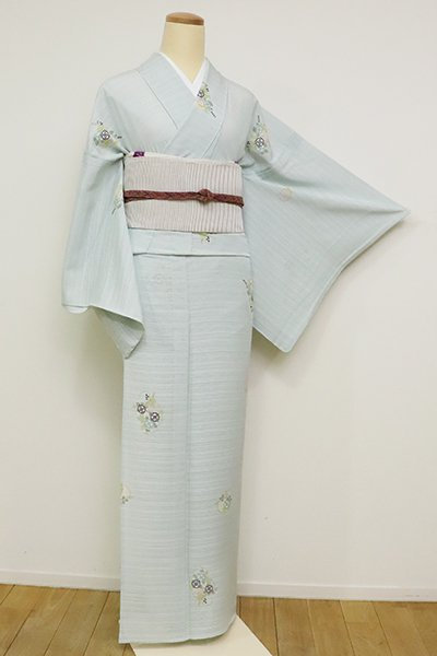 銀座【D-2588】絽 小紋 白藍色 雪輪に花文