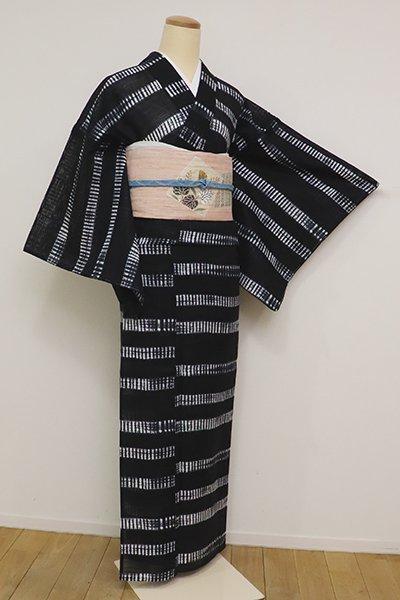 あおき【D-2589】綿絽 絞り染め 浴衣 黒色 横段